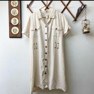 Vtg Safari Style Midi Dress